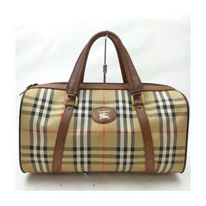 Burberrys Boston Bag big capacity Browns PVC 11346
